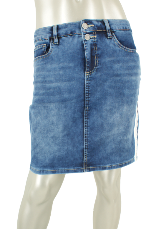 Geisha, 86005 000880/Dark blue denim/White - Rokken