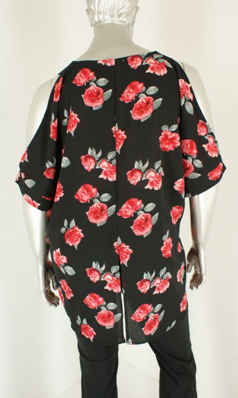 Dex plus, 1273119DP Red Roses Print - Blouse's