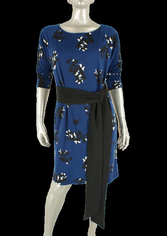 CC Culture, Danielle Stripe Dress  Big Flower Navy/ Black - Jurken
