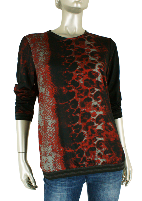 Beau Femme Mode, 1L434 Flora Snake Red - Tops