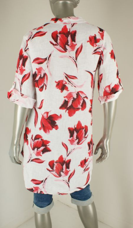Azuri, 21215  Wit / Rood /Roze Print - Tunieken